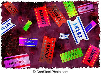 grunge tickets - artistic dirt stained grunge textured...