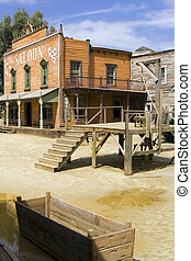 The saloon - Western scenery with saloon. Vertical shot.