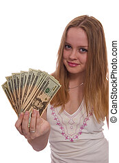 women with dollars - women with dollar bank notes in hand...
