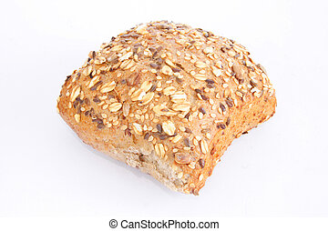 Seedy bread - Fresh-baked  sesame bread on white background