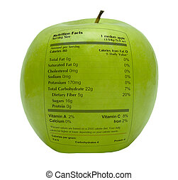 Green apple with nutrition facts printed on the skin