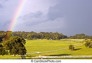 Rainbow Scene - A country landscape with two rainbows...