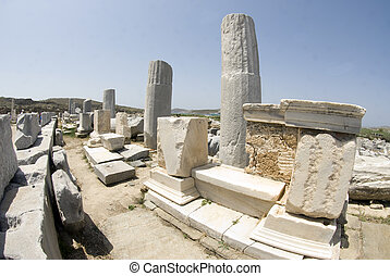 portico of philip V delos island cyclades greece