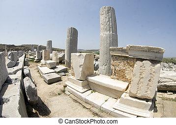 portico of philip V delos island cyclades greece