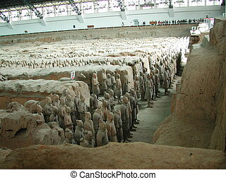 Massed for Battle - Terra Cotta Warriors stand vigilantly...