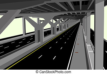 Highway - Illustration of a carless highway and concrete