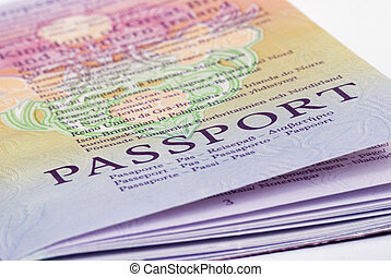 Passport - A closeup shot of a passport on a white...