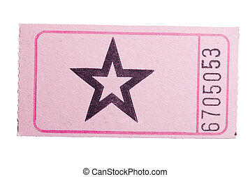 Pink star ticket - A pink star ticket isolated on a white...