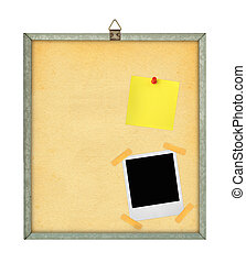 pinboard - isolated pinboard with adhesive note and photo...