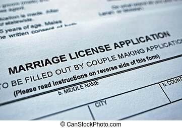 Marriage form - Close up of a blank marriage license...