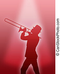 Trumpet player - A trumpet player silhouette in the red...