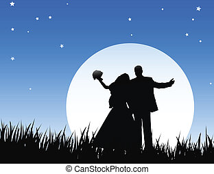 Just married - bride and bridegroom in wedding night on the...