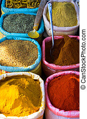 Spices - Various spices from at marketplace in Goa, India