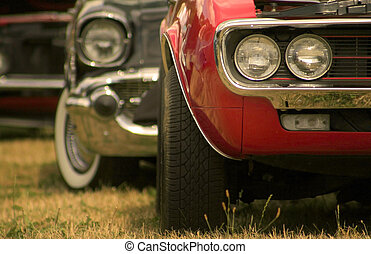 Muscle Cars In A Row - Close up shot of muscle cars that are...