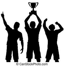 trophée, vainqueurs, célébrer, sports,...