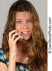 teen with wireless - closeup portrait of a beautiful...