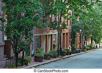 beacon hill - tree lined street with gas lamps and brick...