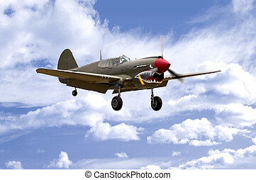 P-40 Landing - A World War Two US Army Air Corps Curtiss P40...
