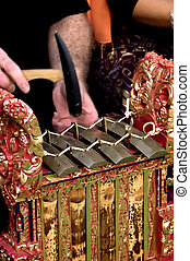 Gamelan Hammer - The hands of a gamelan player in motion