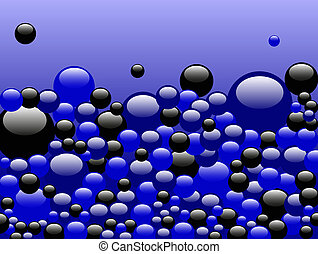 Black and Blue Bubbles on Blue - Black and Blue Bubbles...