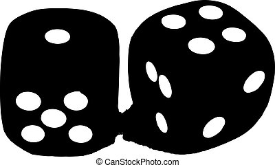 2 dice showing 1 and 4