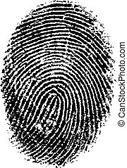 FingerPrint - Black and White Vector Fingerprint - Very...
