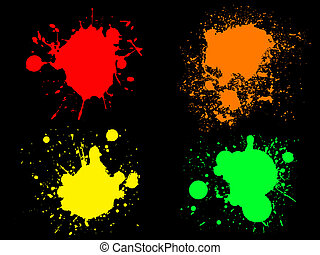 Neon Splats 1 - 4 Hi colour Neon Splats Isolated Vectors and...