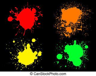 Neon Splats 1 - 4 Hi colour Neon Splats. (Isolated Vectors...