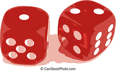 2 dice showing 1 and 2 - 2 Dice close up - showing the...