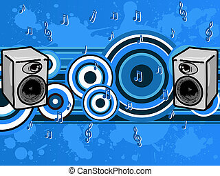 Music Blues - Speakers and music notes (Vector Graphic)