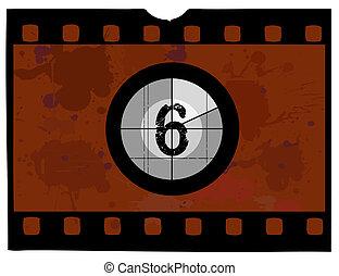 película, contagem regressiva, -, em, 6
