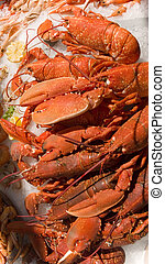 Seafood and Eat It - Lobsters and other seafood on display...