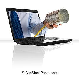 Tin can phone - a hand giving a tin can phone through a...