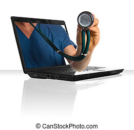 Online Health - A doctors hand sticking out of a laptop