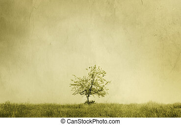 tree - special sepia toned vintage f/x, textured with old...