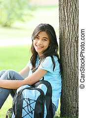 Teen ready for School - Young teen girl ready for the first...