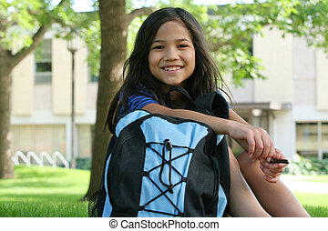 Ready for Fourth Grade - Eight year old girl ready for the...