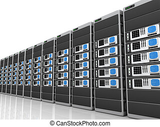 3d server - Illustration of 3d servers in a row.
