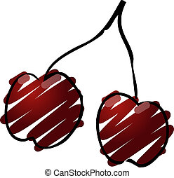Cherries illustration - Sketch of cherries. Hand-drawn...