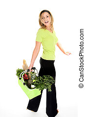 Happy Eco Shopper - A girl with an eco friendly reusable...