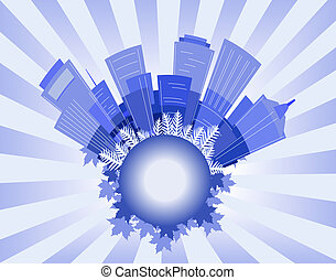 City blue - Background illustration of an abstract city