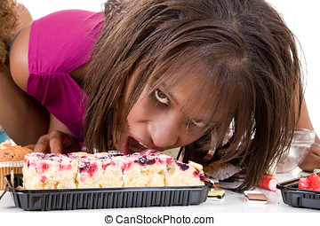 Out of control - Pretty black woman attacking the cake...