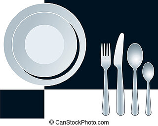 Place setting black - Blue place setting with plate, fork,...