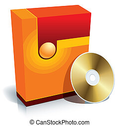 Box and CD - Red blank 3d box with CD, ready to use in your...