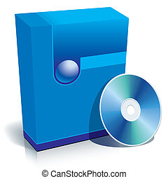 Box and CD - Blue blank 3d box with CD, ready to use in your...