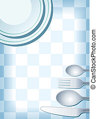 Place setting blue - Blue place setting with plate, fork,...