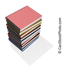 book pile - 3d illustration of a pile of books