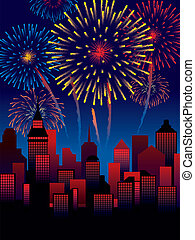 Fireworks - Carnival fireworks over a town, decoration ready...