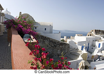 santorini panorama - greek island panorama with homes and...