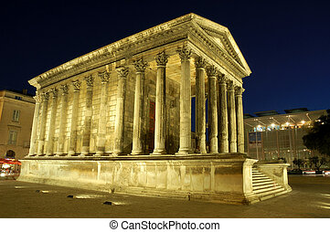 Roman Temple in Nimes - Maison Caree in Nimes, France,...